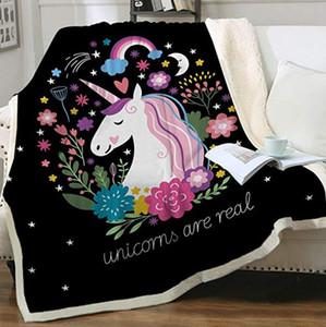 200 * 150cm Couches Double Couverture Épaissir 3D Digital Impression Unicorn Butterfky Couvertures Canapée Couverture Accueil Textiles Accessoires LJJP813