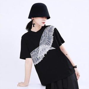 [EAM] Women White Wings Mesh Split Solid Color T shirt New Round Neck Short Sleeve Fashion Tide Spring Summer 2020 1U500