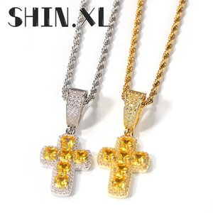 18K White Gold Crystal Pendant Necklace Charm Silver Color Chain Necklaces For Women Cute Bridal Cross Wedding Necklace