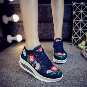 Women Flat Platform Canvas Shoes Retro Embroidery Women's Fashion Lace Up Comfort Woman Sneakers Casual Female Walking Footwear