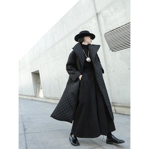 [EAM] Black Big Size Long Cotton-padded Coat Long Sleeve Loose Fit Women Parkas Fashion Tide New Spring Autumn 19A-a319 201124