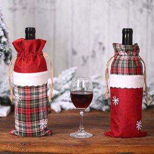 Cover Wine Champagne Bottle Bag Plaid for Party Home Decor Christmas Decorations Supplies GWD1808