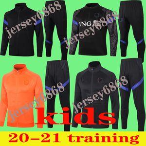 Kids 2020 2021 Holanda Futebol Tracksuit Jacket 2020/21 Kids Holland Survitement de Jong de Ligt Virgil Maillot de Football Training Suit