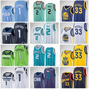 2020 2021 Draft Pick 1 Anthony Edwards Jersey 33 James Wiseman 2 Lamelo Ball Basketball Männer Frauen Kinder Jugend Blau Weiß Lila Größe S-XXXL