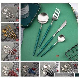 4pcs set black gold cutlery set stainless steel dinnerware silverware white red pink tableware set knife fork spoon flatware kits bc