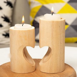 A-Wooden Tea Light Candle Holder Heart Hollowed-out Candlestick Romantic Table For Home Birthday Party Wedding Decoration OWA1665