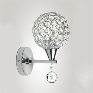 Modern Creative Sliver Crystal E27 Wall Lamp Minimalist Iron Single Head Wall Light For Aisle Porch Balcony Restaurant Bar Hotel