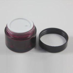 Bouteilles de rangement JARS rond mystérieux verre violet Vide Crème crème 50 g avec noir / blanc LID1