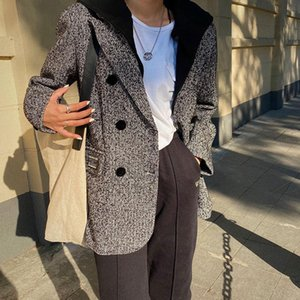 Removable cap USAY female design sense niche tweed suit joker leisure street fashion long-sleeved jacket