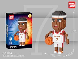 Puzzle Sport Star Player Pequeñas partículas Montar bloques de construcción Juguete Modelo de muñeca de jugador de baloncesto de alta calidad para niño Regalo