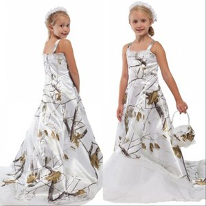 White Camo Lace Flower Girl Dresses for Wedding Custom Online Toddler Kids Formal Camouflage Satin Kids Birthday Party Gowns