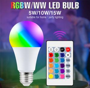 E27 스마트 제어 램프 LED RGB 조명 Dimmable 5W 10W 15W RGBW LED 램프 다채로운 변경 전구 LAMPADA RGBW 화이트 장식 홈