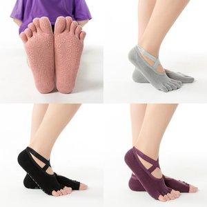 Calzino a colori solido Five dita in silicone Flower Foot Belt Masometro Maggiore Massaggio antiscivolo Donna Dance Socks Ballet Sports 5 8yh K2