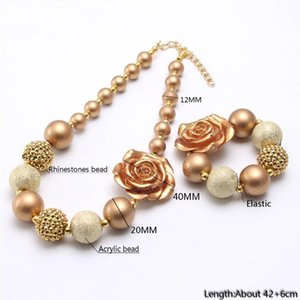 Gold Rose Flower Chunky Beads Necklace For Child Kids Girl Fashion Bubblegum Necklace For Party Handmade Chunky Jewelry