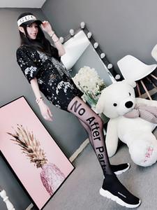 Mektup siyah ipek çorap kadın ultra ince külotlu çorap inschao seksi baskı dikiş jakarlı alt çorap t