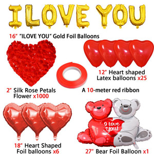 16inch ouro amor letra folha balões coração balão pendurado presente de urso rosa para decoração do casamento de noivado decoração do dia dos namorados hwe4286