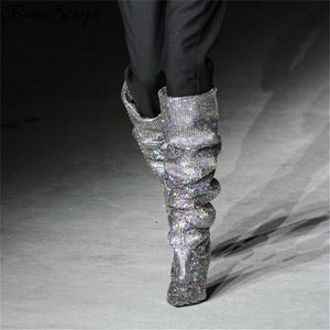 Venta caliente Prova Perfetto Mujeres puntiagudo Punta Bling Bling Sobre Rodilla Rhinestone Botas Crystal Long Toel Toel Boots Luxury Thin Heel Boots