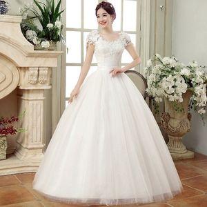 Ball Gown Wedding Dresses 2020 Plus Size Cheap White Appliques Bride Dress Simple Tulle Lace Up Back vestido de noiva Q1110