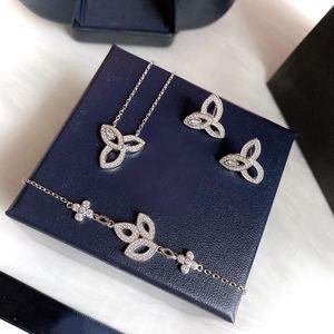 Hot Brand Pure 925 Sterling Silver Jewelry Set For Women Sakura Flower Party Rose Jewelry Set Necklace Bracelet Earrings Set