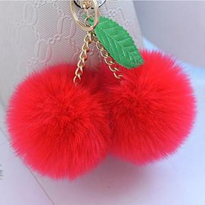 Fashion New Cute Fluffy Faux Rabbit Fur Ball Pompom Keychain Cherry Gold Key Chain Pom Pom Keyring Bag Charms Wedding Trinket sqcjxt