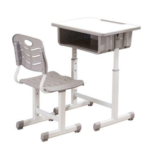 Hot Sturdy and Safe Adjustable Students Children Desk and Chairs Set White US