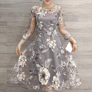 Hot Women O Neck 3 4 Mesh Sleeve Floral Print Large Swing Double Layer Midi Dress Drop Shipping