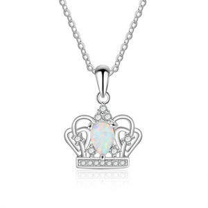 Hot Selling Australia White Opal Jewelry 925 Sterling Silver Opal Crown Pendant Necklace For Women Gift