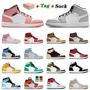 Топ мода середина розовый кварцевый jumpman 1 1S баскетбол обувь дыма серый мужская женская обсидиана UNC патент Chicago Rookie Trainers кроссовки 36-46