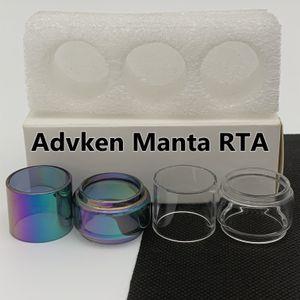 ADVKEN MANTA RTA Tube d'ampoule normale CLEAR RAINBOW REMPLACEMENT Tube de verre à bulles étendue Fatboy 3PCS / boîte