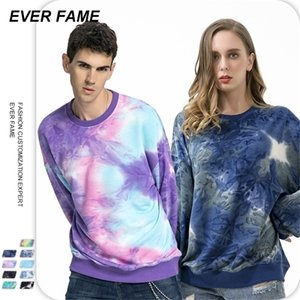 EF men's sweater autumn and winter thickened fashion brand couple loose casual tie dye round neck cotton sweater manSK9V68F4EPPF