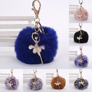8cm Women PomPoms Plush Key Ring Fur Pom Pom Dancing Angel Keychain Fluffy Rex Rabbit Fur Ball Key Chain Handbag Pendant Kimter-X963FZ