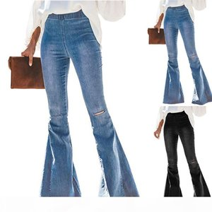 2020 Womens Flare Pants Ripped Vintage High Waist Skinny Jeans For Women Sexy Retro Denim Pants Lady Streetwear Trouser