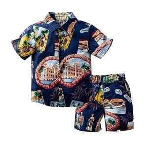 Летние Bohemia Boys Boys костюмы Мода детей костюмы с коротким рукавом рубашка + шорты брюки 2 шт. / Компл. Мальчики наряды мальчики Одежда детская одежда B3364