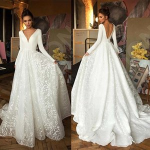 Robe de mariee Vintage Long Sleeve Lace Satin Wedding Dress Sexy Deep V Neck Backless Bride Dress for Wedding T200525