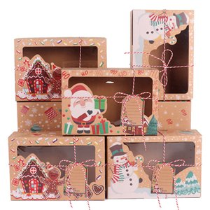 PATIMATE 12 24pcs Kraft Paper Christmas Cookie Gift Boxes with Clear Window 22*15*7cm Happy New Year Favors 2020 Christmas Boxes Q1127