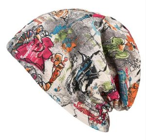 Women's Soft Cotton Polyester Graffiti Slouchy Baggy Beanie Spring Autumn Outdoor Skull Cap Hip Hop Hats
