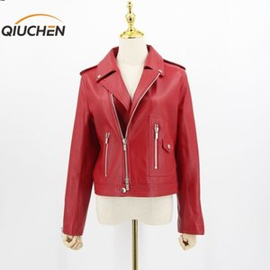 Qiuchen Nuovo arrivo Donne Primavera Real in pelle Giacca in pelle Genuine Sheep Leather Coat Moda Donna Giacca 201030
