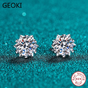 Geoki Passed Diamond Test Excellent Moissanite Snowflake Earrings 925 Sterling Silver Perfect Cut 0.5-1 ct Stone Stud Earrings