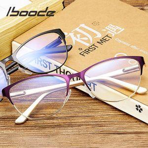 Ibooode Yarım Çerçeve Kedi Göz Okuma Gözlükleri Kadın Erkek Antifatigue Bilgisayar Optik Gözlük Retro Presbiyopi Gözlük Feamale Elder
