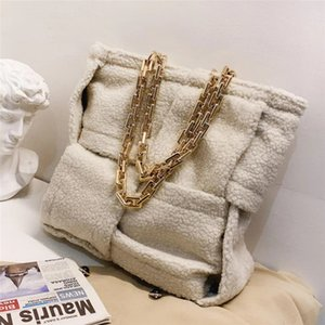 Thick Chain Large Tote Bag 2021 Fashion New Quality Wool Women's Designer Handbag High Capacity Woven Shoulder Bag Travel Bag