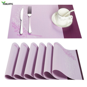 YokiSTG PVC Leaves Pattern Square Placemats For Dining Place Mat In Kitchen Accessories Tableware Cup Wine Mat Y1127