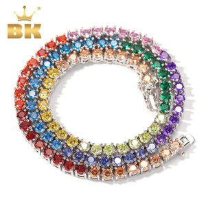 THE BLING KING Rainbow Colorful 4mm CZ Tennis Gold Necklace Copper Hip Hop Round Stones Shining Jewelry Punk Christmas Gift Q1129