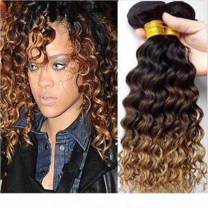 9A Brazilian Deep Curly Ombre Weaves 1B 4 27 Honey Blonde Ombre Human Hair 3Pcs Three Tone Brazilian Human Hair Bundles Deep Wave