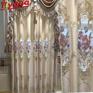 Занавески Room Люкс для проживания Полукопта Nordic Вышивка Chenille Готовый продукт Flower Beige Tulle для Villa HM140 # VT
