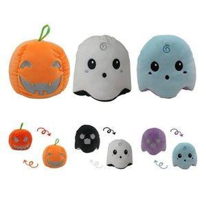 Stuffed Halloween Flip Luminous Ghost Face Doll Gift Double Toy Expression Reversible Pumpkin Cute Soft Doll Plush Vrirs