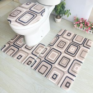 Bathroom Carpet Set Anti Slip Toilet Lid Cover Rug Bath Mat Bathroom Rug Floor Home Decoration Accessories 3 pcs Rugs Toilet