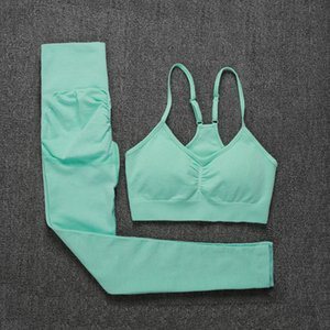 ATHVOTAR Two Piece Set Women Seamless Gym Sports Bra and High Waist Leggings Outfits Solid Color Fitness Tracksuit Women Q0114