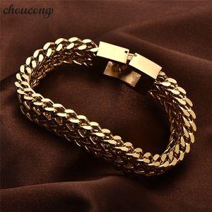 choucong Male Hiphop 316L Stainless Steel bracelet Length 20 22cm Gold color popcorn chain bracelets for men Rock Jewerly