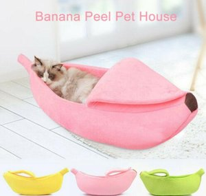 Warm Pet Dog Cat Bed Nest Banana Peel Shape Warm Plush Fleece Fluffy Home Bed Cute jllPSW eatout