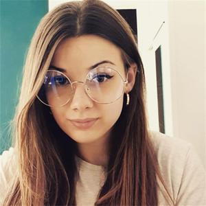 Moda óculos de sol quadros vintage enorme óculos mulheres 2021 desige metal redondo Óptica Óptica lente transparente